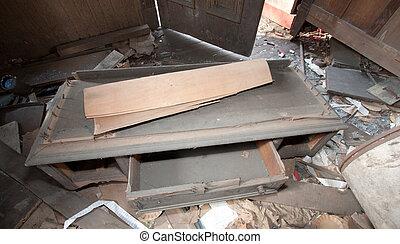 sala, trashed, mobília