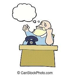 saliência, bolha pensamento, caricatura, arrogante, homem