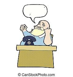 saliência, borbulho fala, caricatura, arrogante, homem