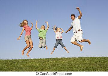 salto, campo, par, filhos jovens