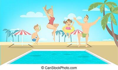 salto, pool., família