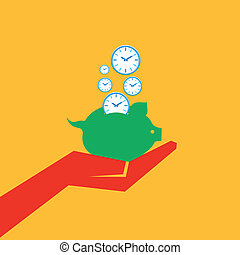 salvar, tempo, cofre, conceito