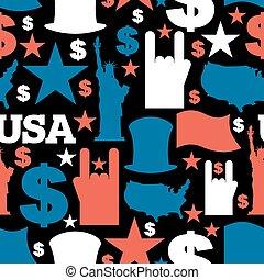 sam., estado unido, tio, símbolos, estados, eua, liberdade, dólar, país, pattern., experiência., mapa, tradicional, américa, ornament., patriótico, estátua, flag., nacional, star.