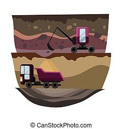 sand., alto, excavator., pedreira, vetorial, design., tesouro, natural, pesado, caminhão, indústria, mineração, recursos, carvão, nacional, dever, equipamento, ilustração