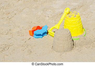 sand., brinquedos praia, crianças