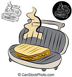 sanduíche, fabricante, panini, imprensa, forre desenho