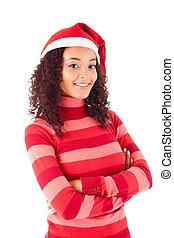 santa, mulher, desgastar, bonito, chapéu natal, celebrando, africano