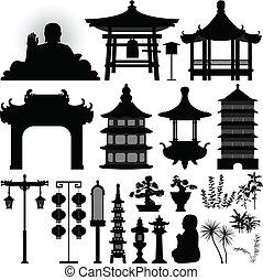 santuário, relíquia, asiático, chinês, templo