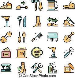 sapato, apartamento, jogo, vetorial, ícones, reparar