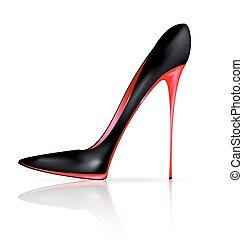 sapato preto, vermelho
