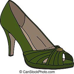 sapato, verde, womans