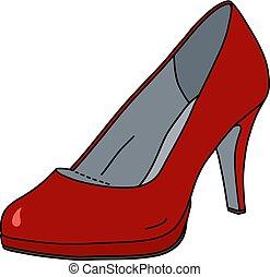 sapato, vermelho, womans