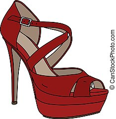 sapato, vermelho, womans, tira