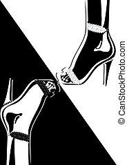 sapatos, alto-colocar salto* no* sapato*