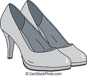 sapatos, branca, womans