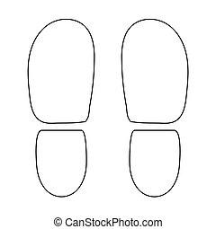 sapatos, cor, pretas, calcanhares, rastros, ícone