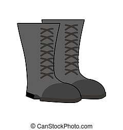 sapatos, exército, isolated., botas, experiência., pretas, calçado, militar, soldados, branca