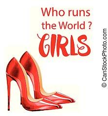 sapatos, mundo, vermelho, senhora, vetorial, meninas, corridas