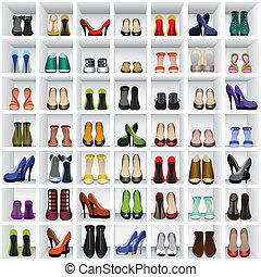 sapatos, prateleiras