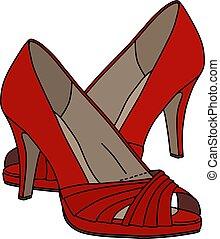 sapatos, vermelho, womans