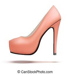 sapatos, vindima, alto, bomba, calcanhares, vermelho