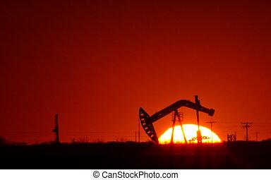 saskatchewan, bomba, óleo, campo sol