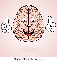 saudável, cérebro, caricatura