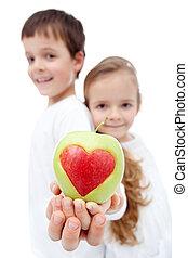 saudável, conceito, comer, infancia