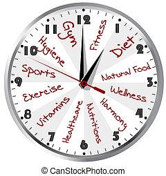 saudável, conceitual, vida, relógio