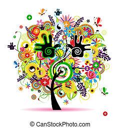 saudável, energia, árvore, desenho, herbário, seu
