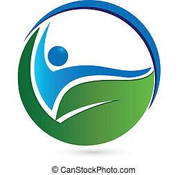 saudável, logotipo, conceito