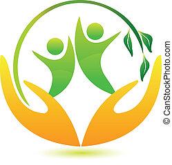 saudável, logotipo, feliz, pessoas