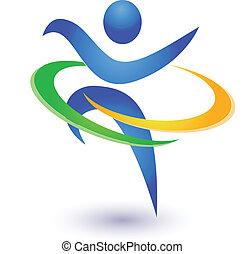 saudável, logotipo, vetorial, feliz