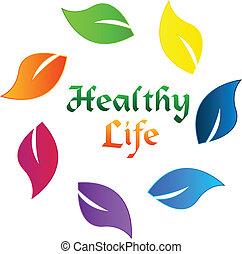 saudável, logotipo, vida, folheia, coloridos