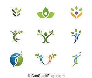 saudável, logotipo, vida