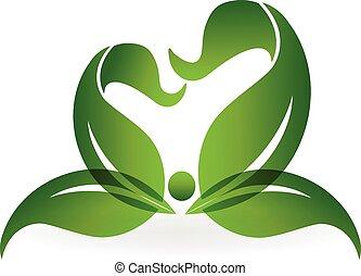 saudável, logotipo, vida, verde