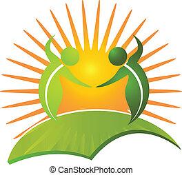 saudável, logotipo, vida, vetorial, natureza