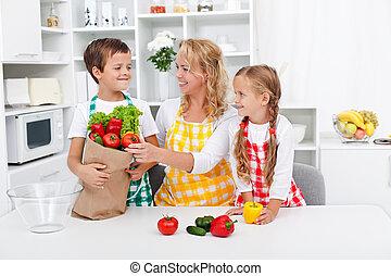saudável, nutrição, conceito, cozinha, pessoas