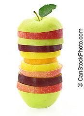 saudável, nutrição, fruta, fatias