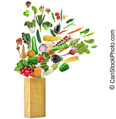saudável, saco, mercearia, alimento