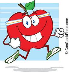 saudável, sacudindo, maçã, vermelho