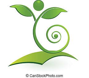 saudável, swirly, homem, folha, logotipo