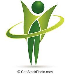 saudável, teia, vida, desenho, logotipo