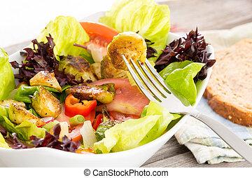 saudável, vegetariano, desfrutando, refeição