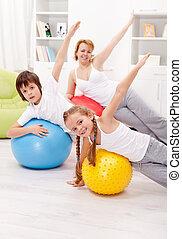 saudável, vida, conceito, exercitar, pessoas
