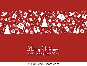 saudação, cartão natal, vermelho