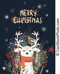saudação, inverno, cartão, natal, vetorial, ilustração, veado, modelo, floral.