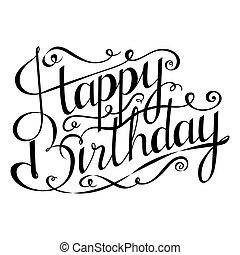 saudação, mão, calligraphy., aniversário, desenhado, feliz, inscription., cartão, design.
