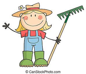saudação, menina, jardinagem, waving