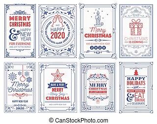 saudação, novo, árvore, ornate, inverno, quadrado, cartões, feriados, ano